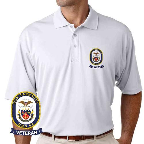 uss farragut veteran performance polo shirt