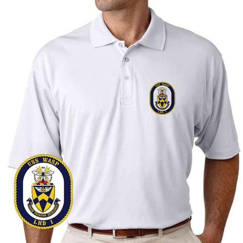 uss wasp performance polo shirt