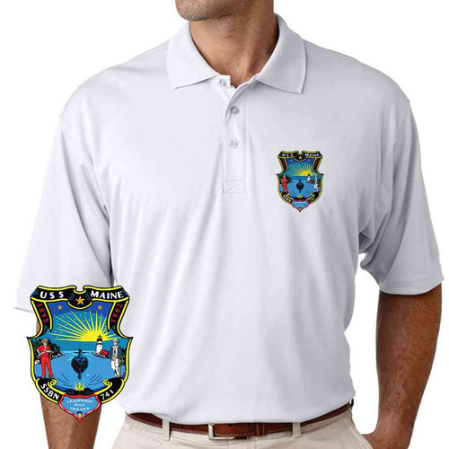 uss maine performance polo shirt