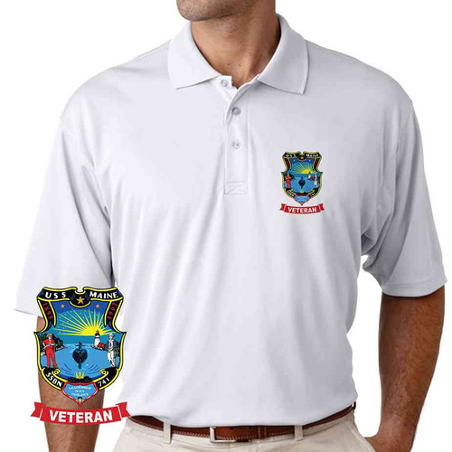uss maine veteran performance polo shirt
