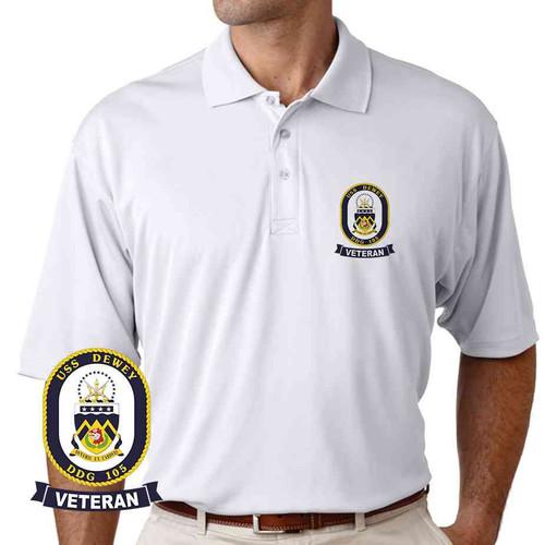 uss dewey veteran performance polo shirt