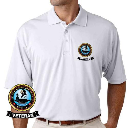 uss theodore roosevelt veteran performance polo shirt