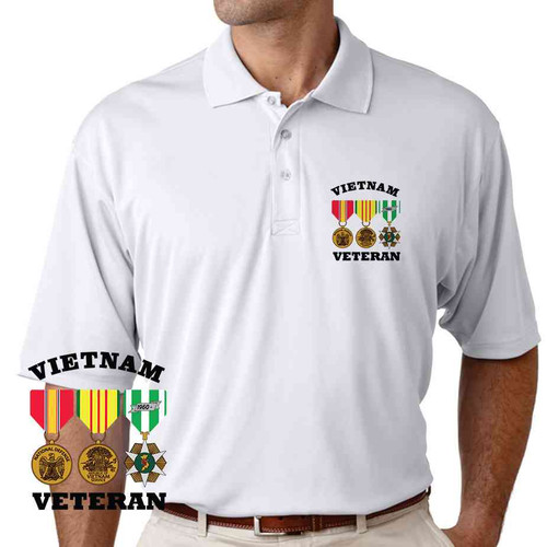 vietnam veteran special edition 3 medals polo shirt
