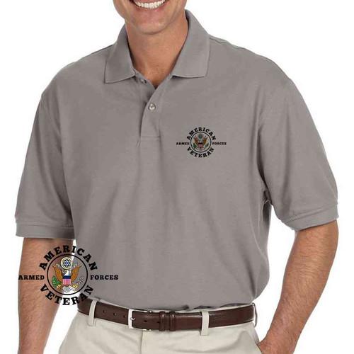 american veteran performance grey polo shirt