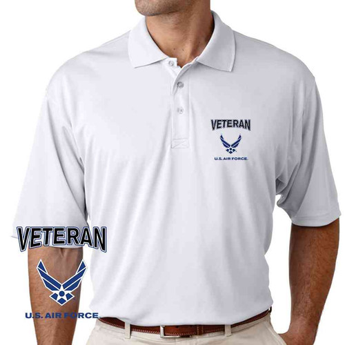 officially licensed u s air force veteran wings performance polo shirt