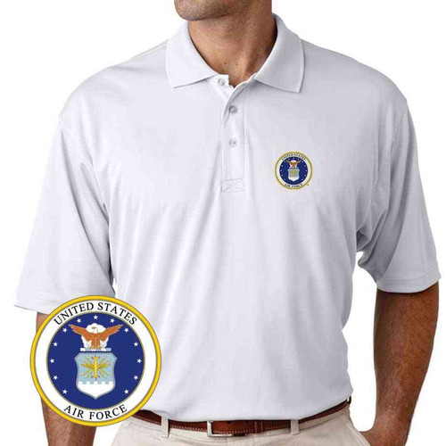 officially licensed u s air force emblem performance polo shirt