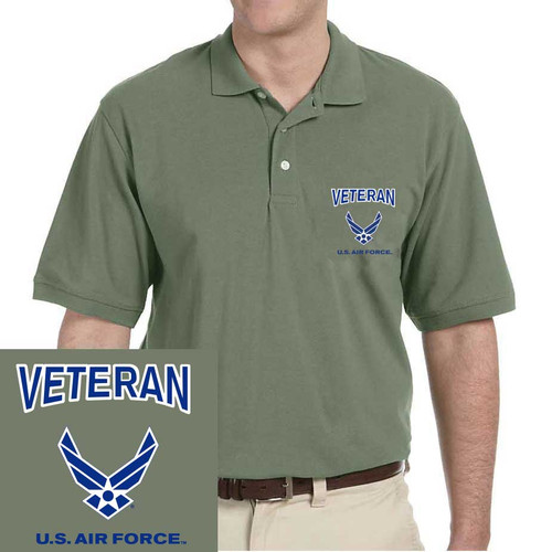 officially licensed u s air force veteran wings embroidered polo