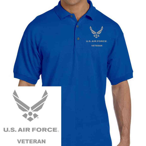 officially licensed u s air force silver grey air force embroidered polo