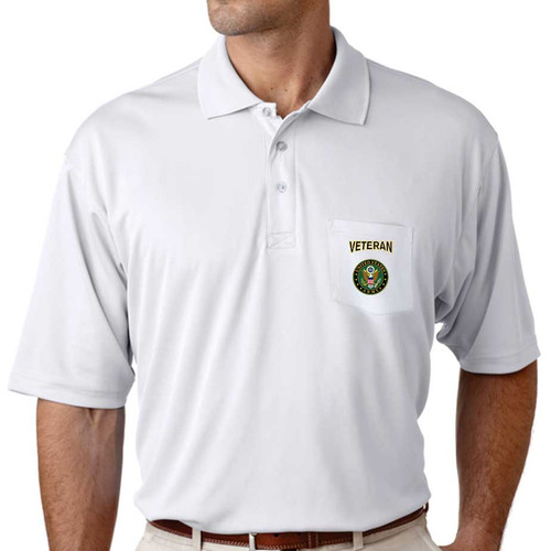 officially licensed u s army crest veteran pocket performance polo shirt