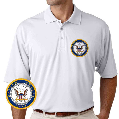officially licensed u s navy gold emblem performance polo shirt