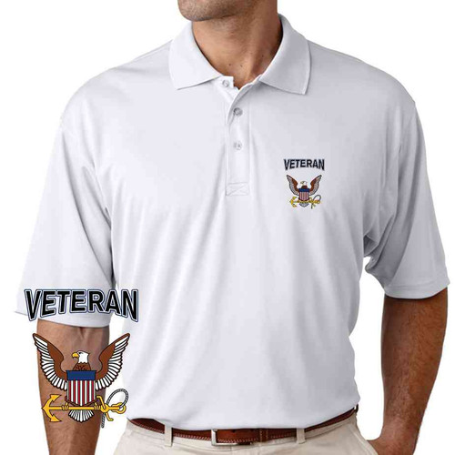 officially licensed u s navy eagle and anchor veteran performance polo shirt
