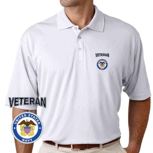 officially licensed u s navy emblem anchor veteran performance polo shirt