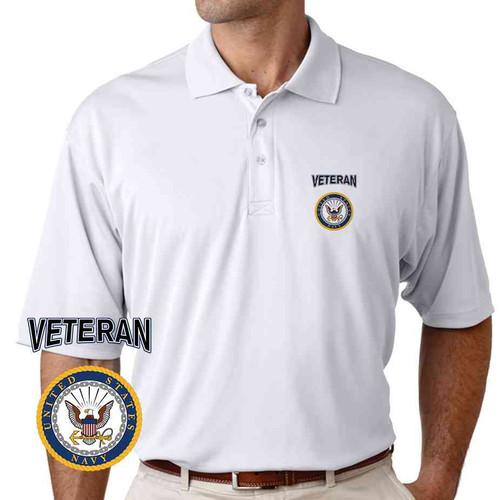 officially licensed u s navy gold emblem veteran performance polo shirt