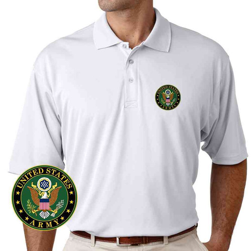 officially licensed u s army crest performance polo shirt