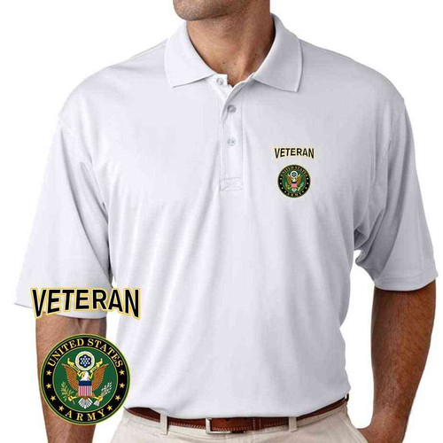 officially licensed u s army crest veteran performance polo shirt