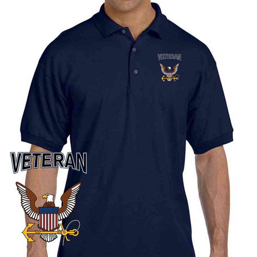 officially licensed u s navy veteran eagle embroidered polo shirt