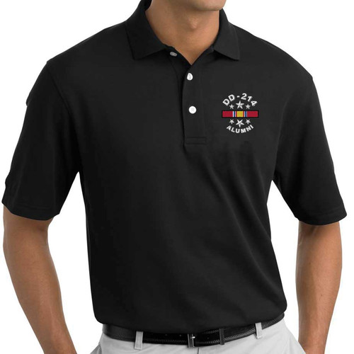 us veteran polo shirt dd214 and national service ribbon embroidered