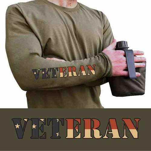 olive drab long sleeve tshirt veteran on forearm