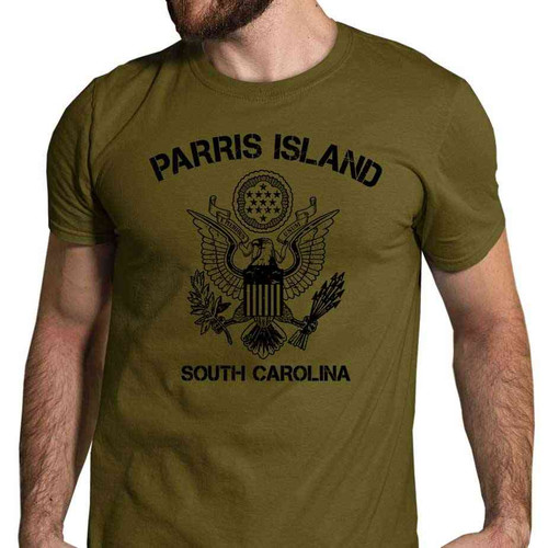 us marines tshirt parris island great seal united states in olive drab