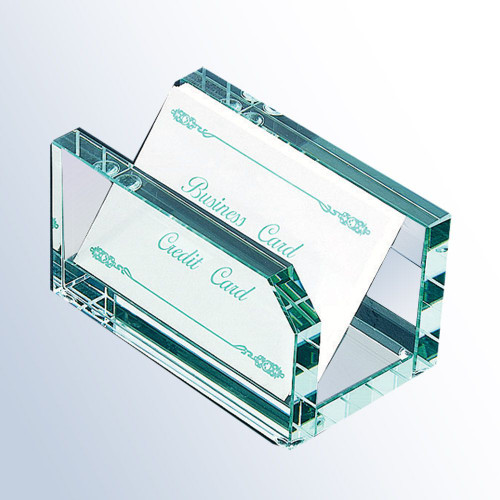 A nice jade glass business card holder engraved with your company logo will surely boost professionalism and be an impressive desk accessory.