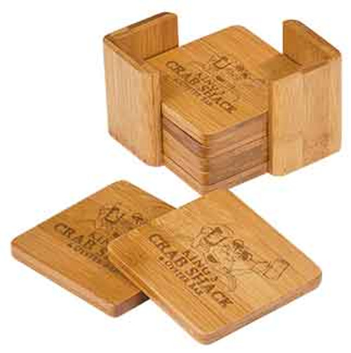 "3 3/4"" x 3 3/4"" Bamboo Square 6-Coaster Set with Holder"
