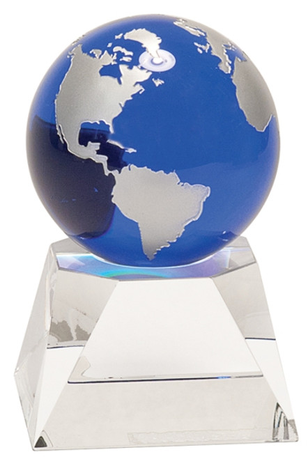 "Our Premier Globe Crystal is handmade and may vary slightly in size. Silver painted continents on a blue optic crystal globe. Globe sits in a recessed area on the clear crystal base. Globe is not attached to the included base. Packaged individually in a lined gift box. Your recognition or gratitude will be crystal clear with Premier Crystal!  Length: 3"" Height: 5"" Width: 3"" Thickness:3"" Overall Size:3""(L) x 5""(H) Base Dimensions: 3 1/8""(L) x 3 1/8""(W) x 2""(H), top is 2 3/8""W Base Personalization Area: 2""(L) x 1 7/8""(H) Color:Blue/Clear/Silver Material:   Optic Crystal Miscellaneous Dimensions: diameter of globe is 3"""