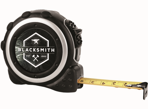 "16-Foot Black & Silver Tape Measure with 1 1/2"" Insert Area, 1-sided"