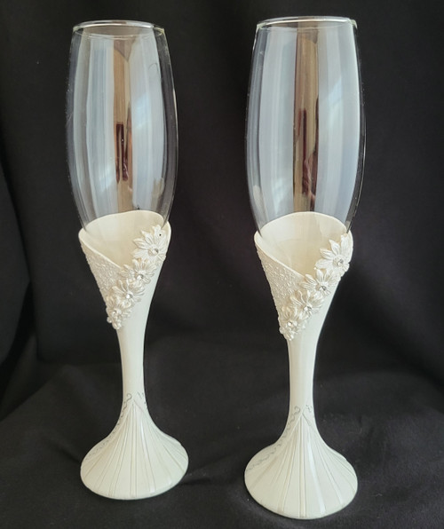Daisy theme stem Champagne flute