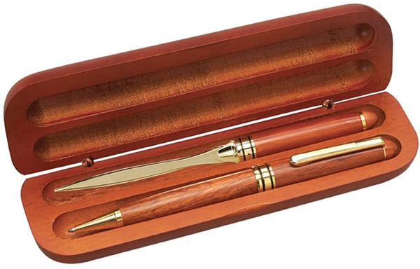 Pen and Letter Opener in a Rosewood Finished Case