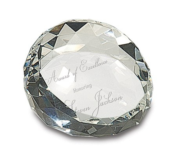 Customized, Clear Round Crystal Facet  Paperweight