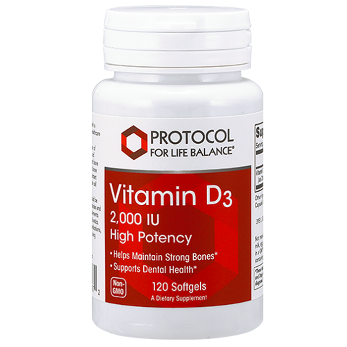 Vitamin D3 2,000 IU (by PFL), 120 softgels