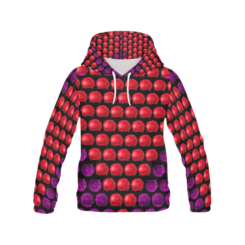 Floral Heart Women's All-Over-Print Pullover Hoodie