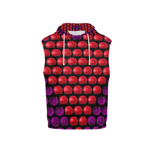 Floral Heart Kid's All-Over-Print Sleeveless Pullover Hoodie