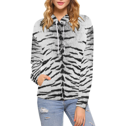 White Bengal Women's All-Over-Print Pullover Hoodie