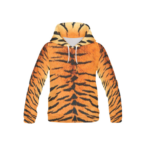 Orange Bengal Kids's All-Over-Print Pullover Hoodie