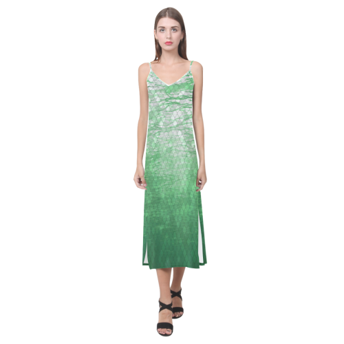 Snakeskin Lake V-Neck Open Fork Long Dress
