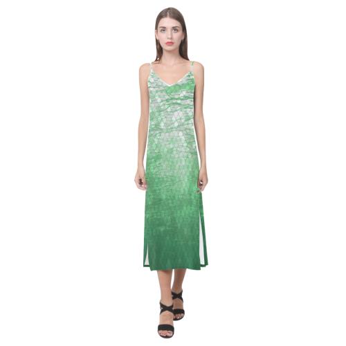 Snakeskin Lake V-Neck Open Fork Long Dress