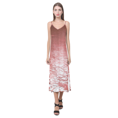 Reverse Lake V-Neck Open Fork Long Dress