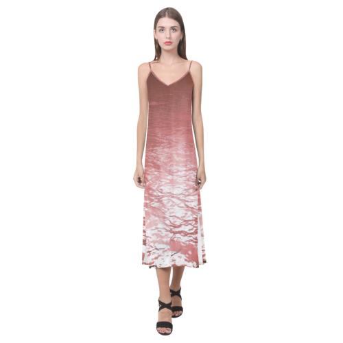 Reverse Lake V-Neck Open Fork Long Dress