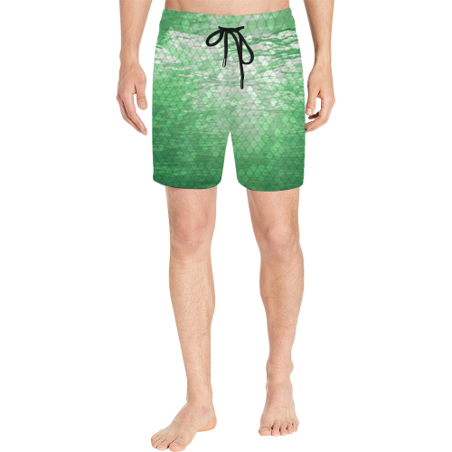 Green Snakeskin Lake Mid-Length Swim Shorts