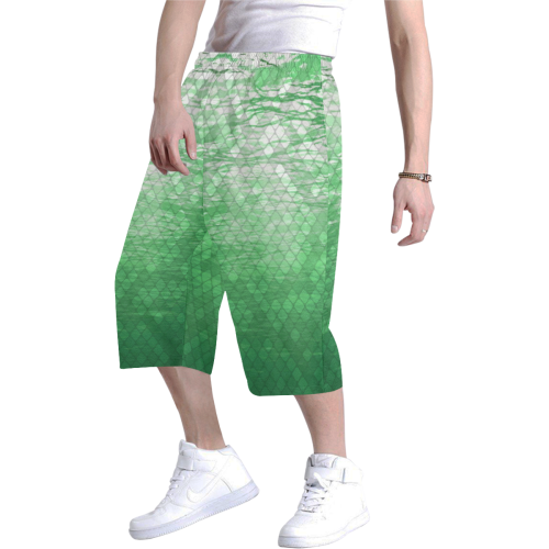 Green Snakeskin Lake Baggy Shorts