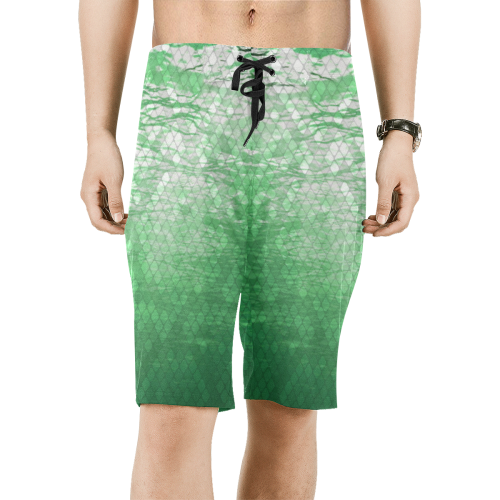 Green Snakeskin Lake Board Shorts