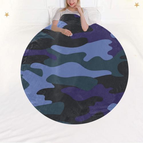 Blue Camo Circular Blanket