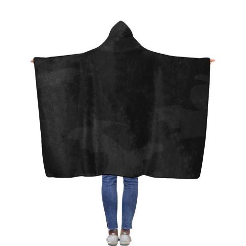 Black Camo Flannel Hooded Blanket