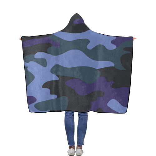 Blue Camo Flannel Hooded Blanket