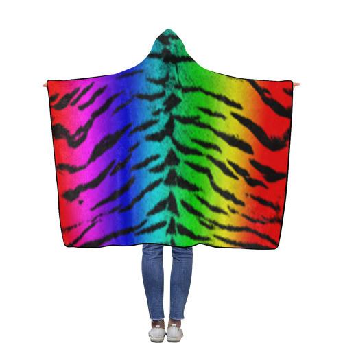 Rainbow Tiger Flannel Hooded Blanket