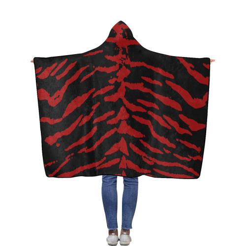 Red Tiger Flannel Hooded Blanket