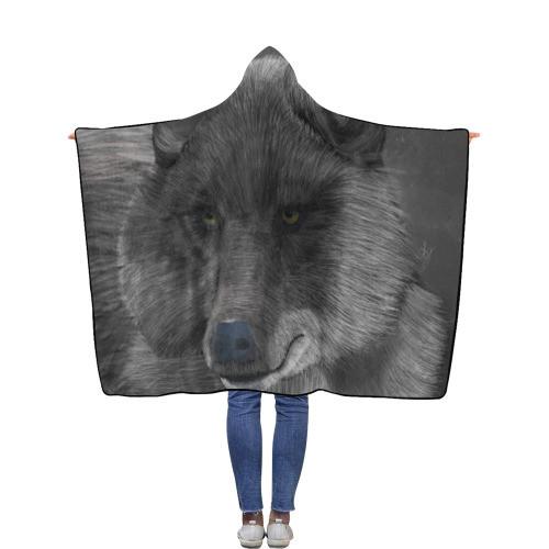 Wolf Moon Flannel Hooded Blanket