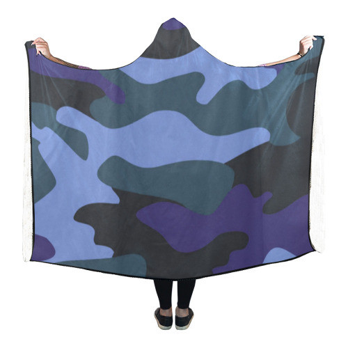 Blue Camo Hooded Blanket