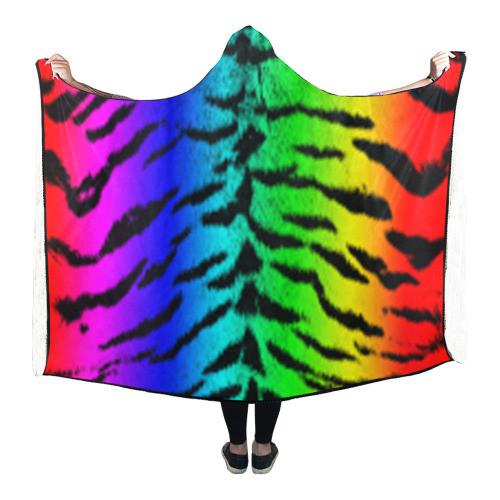 Rainbow Tiger Hooded Blanket